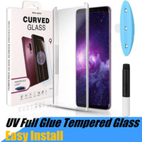 Wholesale samsung galaxy s8 edge online – UV Tempered Glass Protecor For Samsung Note Galaxy S9 S8 Plus S7 Edge S10 D Full Liquid Glue Screen Protector