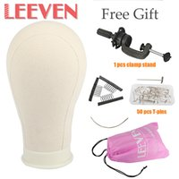 Wholesale free shipping mannequins resale online - Leeven Canvas Block Head Mannequin Head Wig Display Styling Manikin Wig Stand With Mount Hole