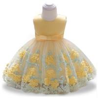 vestido de encaje bebé 12 meses al por mayor-Marca Bowknot recién nacido bebés flor vestidos de encaje de bautismo para 12 meses 1 año primer cumpleaños princesa vestido de bautizo traje J190506