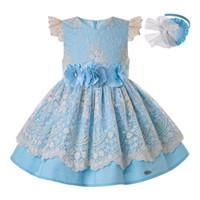 çocuklar için mavi gelinlik toptan satış-Kızlar için Pettigirl Yaz Diz Elbise Mavi Dantel Çocuk Düğün Prenses Parti Çocuklar Zarif Porno Frocks Giysileri G-DMGD203-28