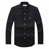 camisetas de manga longa preta venda por atacado-19 Outono Inverno Mens Designer Oxford Camisa Dos Homens de Manga Comprida Casual Crocodile Camisas Sociais Moda Usa Marca Cl Polo Camisas