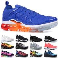 kadınlar için siyah iş ayakkabıları toptan satış-Nike Air Vapormax Plus Xamropav TN Artı Erkek Kadın Koşu Ayakkabıları Üçlü Siyah Beyaz Günbatımı Iş Mavi Oyun Kraliyet Volt ABD Ucuz Tasarımcı Trainer Spor Sneaker