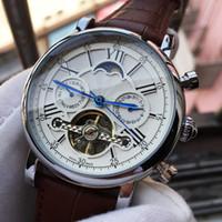relógio mecânico moonphase venda por atacado-Top de luxo relógio suíço marca mens relógio mecânico automático tempo moonphase mãos à prova d 'água casual militar sport relógios relogio masculino