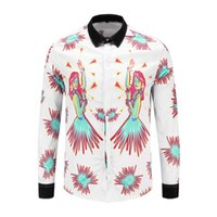 fit mädchen kleidung großhandel-Tanzmädchen Hemd Business-Himmel-Feuerwerk der Männer Nachthemden Langarm-Menshemden beiläufige dünne Sitzkleidung camisa masculina
