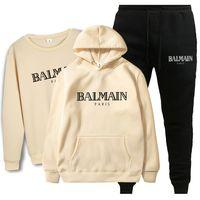 Wholesale mens flannels for sale - Group buy Balmain New Fashion Suit Men Sportswear Print Men Hoodies Pullover Hip Hop Mens Tracksuit Sweatshirts Clothing
