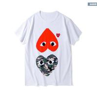 camiseta blanca de calidad al por mayor-2019 La mejor calidad Hombres Mujeres CommeS DES blanco jugar GARCONS CDG Camisetas bordadas de manga corta de doble corazón Camiseta bordada de corazón rojo