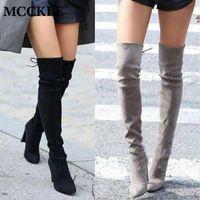 botas altas de tacón alto de cuero al por mayor-Moda Mujer Invierno Muslo Botas altas Cuero de gamuza sintética Sólido Tacones altos Mujeres Sobre la rodilla Zapatos