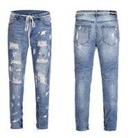 ingrosso pantaloni corti pantaloni-Wholetide Nice Street Style Water Wash Jeans strappati Mens New Trend Splash-ink Piccoli piedi aderenti Tipo Beggar Pants