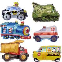 araba ambulansı toptan satış-DIY Karikatür Araba Balonlar Yangın Kamyon Araba Tren Folyo Balon Ambulans Globo Çocuk Hediyeler Doğum Günü Partisi Süslemeleri Çocuklar Topları