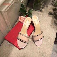 beste heeled pantoffeln großhandel-Frauen Sandalen Designer-Schuhe Luxus Slide Summer Best Fashion breite flache Slippery Sandalen Slipper mit Niet-Absatz-Größe 35-40 Blume