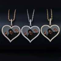 Wholesale picture heart pendant for sale - Group buy hip hop Customized photo heart pendant necklaces for men women luxury diamonds love heart pictures pendants k gold plated neclace gifts