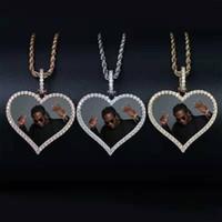 resimleri erkek kolyeleri toptan satış-Hip hop Özelleştirilmiş fotoğraf kalp kolye kolye erkekler kadınlar için lüks elmas aşk kalp resimleri kolye 18 k altın kaplama neclace hediyeler