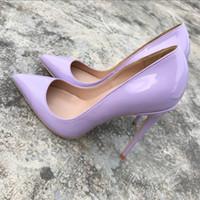 flieder high heels schuhe großhandel-Delicate2019 Fresh Lilac Stöckelschuhe Damen Fein Mit 12cm Scharfen Sexy Single Schuh Klein Code 34 35