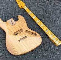 kit de guitarra electrica solid al por mayor-Kits de bajo eléctrico sin terminar con cuerpo de olmo, mástil de arce Solid Flame, diapasón de arce, color natural, alta calidad
