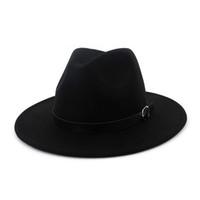 şapka karnavalı toptan satış-Sonbahar Kış Düz Boyalı Kemer Toka Dekore Fötr Şapkalar Erkek Kadın Yün Caz Fedora Şapka Hissettim Düz Ağız Panama Karnaval Kap Şapka