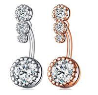 New Diamond Dangle Belly Bars Belly Button Rings Belly Piercing Crystal Flower Body Jewelry Navel Piercing Rings Flower Shape Pendant Set