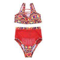 Wholesale xxl padded bikinis for sale – plus size 2pcs Women bikini set High waist padded bathing suits sexy print lace up bandage padded swimsuit swimwear Hollow out drop ship