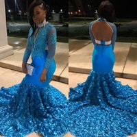 Wholesale chrismas girl dress for sale - Group buy Long Elegant Evening Dresses High Neck Mermaid Long Sleeves Top Lace Beaded Backless African Black Girl Blue Feather Prom Gowns