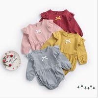 vêtements mignons pour les filles en bas âge achat en gros de-2019 Ins bébé filles coton barboteuse avec arc mignon enfants escalade vêtements Infant Toddler combinaisons bébé onesies Rompers boutique vêtements
