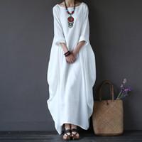 ingrosso abito bianco cotone boho-Maxi abito in lino bianco in cotone da donna primavera estate larghi Plus Size Big Hem Boho Robe Abiti lunghi manica tre quarti in caftano 5xl J190530