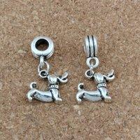 encantos do cão venda por atacado-100 unidades / lotes de prata antigo Dachshund Dog Alloy Dangle Charme Beads Fit Charm Bracelet Jóias DIY 12.5x26.5mm