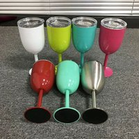 Wholesale free china cups resale online - 10oz Insulated Wine Cup With Seal Lids Stainless Steel Wine Goblet Double Wall Cocktail Glass For Kitchen Drinkingware