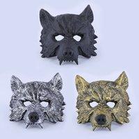 máscaras assustadoras do teatro venda por atacado-3styles Máscara de Borracha Lobo Creepy Masquerade Halloween Chrismas Partido de Páscoa Traje Cosplay Teatro Prop Cinza Lobisomem Lobo Máscara Facial FFA1986