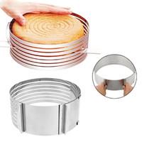 pişmiş köpük toptan satış-Ayarlanabilir Paslanmaz Çelik Mus Kek Katmanlı Kesme Aracı Pişirme Gereçleri Yuvarlak Ekmek Kek Aracı DIY Pişirme Malzemeleri