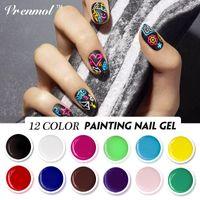 glasurgel nagellack großhandel-Vrenmol Nail Art Design Malen UV Gel Semi Permanent Gel-Tinte 3D Nail Art gezeichnet Malerei Farbe Vernis Glaze Politur