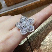 elmas sonsuzluğu toptan satış-Infinity Lüks Takı kişilik 925 Ayar Gümüş Damla Su Sonsuzluk Beyaz Topaz CZ Elmas Kadınlar Düğün Çiçek Band Yüzük Hediye