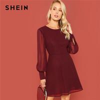 ingrosso abiti da ufficio moderni-vendita all'ingrosso Borgogna Sheer Bishop Sleeve Fit Flare Dress Elegante Office Lady Solid Dress 2018 Autumn Modern Lady Women Dresses