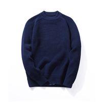 suéter de punto de algodón negro al por mayor-VARSANOL Color negro para hombre jersey suéter capa de manga larga con cuello en O de punto ocasional de algodón suéter hombres a rayas delgado caliente M-3XL caliente