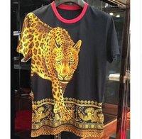homens impressão leopardo venda por atacado-2019 primavera 19ss nova moda tees royal leopardo impressão tee t shirt para homens marca de algodão roupas top retro