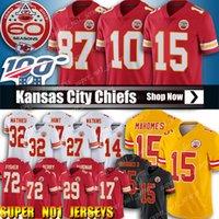 parches para jerseys al por mayor-15 Camisetas de Patrick Mahomes Jersey de los Jefes de Fútbol de Kansas City 10 Tyreek Hill 87 Travis Kelce 60.o parche 32 Tyrann Mathieu 29 Camisetas de Berry