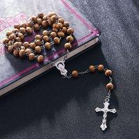 ingrosso catena di bead jesus-Rosario lungo preghiere perline di legno Collana di strass per uomo Donna Gesù Cristo redige croce fede pendenti collane gioielli in catena
