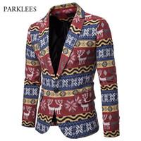 chaqueta de navidad para hombre al por mayor-Navidad Blazer Men 2019 Nueva llegada con estilo de impresión Modal Mens Blazer Jacket Casual solo botón Masculino