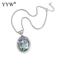Wholesale carved necklaces resale online - YYW Oval Abalone Shell Pendant Necklace Vintage Jewelry Women Gift Long Chain Collier Boho Zinc Alloy Carved Fashion Chic Choker