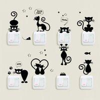 ingrosso interruttore a parete nero-Cartoon Black kitty Switch Sticker Home Decor soggiorno sfondo decorazione Murale art decalcomanie adesivi murali gatti fai da te creativo
