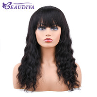 Wholesale natural black bang for sale - Group buy Beaudiva Lace Front Human Hair Wigs With Bangs For Women Black Body Wave Density Lace Wig Pre Plucked Brazilian Remy Hair