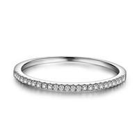 diamante natural 14k al por mayor-La mitad de la eternidad anillo sólido 14 k oro blanco 1 / 10ct Natural Diamond mujeres compromiso boda Band moda joyería fina regalo Y19052401