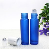 Wholesale lipstick lid resale online - Frosted Glass Roller Bottles ml Blue Refillable Ball Container with Black Silver Lids For Travel Cosmetic Lipstick Care
