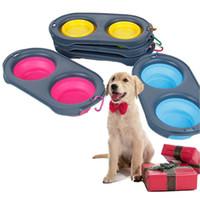 tigelas amigáveis do cão do eco venda por atacado-New Dobrável Pet Food Bowls Silicone 4 Cores Dobrável Tigela Dupla Viagem Eco Friendly Dog Supplies