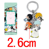 Wholesale GINTAMA Colorful Anime Metal Keychain Printed With Sakata Gintoki Pendants for Cosplay Accessories