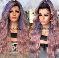 schwarze wurzelperücken großhandel-2019 neue mode promi Perücke Synthetische schwarze wurzeln lila ombre rosa Lace Front synthetische perücke hitzebeständige haar für frauen