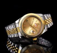 relógio de data perpétua venda por atacado-2018 relogio homens de luxo marca homens relógio duplo calendário dia-date marca aço inoxidável perpétua presidente relógio de pulso de diamante automático