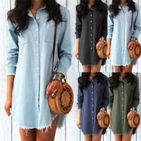 39ad03c0e1 Wholesale ladies denim shirt online - Fashion Autumn Women Dress Lady Long  Sleeve Denim Shirt Dress