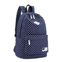 ingrosso scuola polka dot zaino-Pois scuola Canvas Shoulder zaino borsa da viaggio Zaino Grande Capcity Student Daypack Satchel 33 x 16 x 45 centimetri