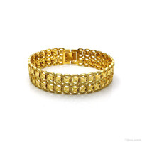 Wholesale beds china for sale - Cross border jewelry Europe and the United States copper plating k gold personality man bedding face is wide bracelet