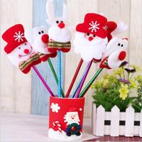 Wholesale lovely stationery resale online - Lovely ballpen Cute Christmas Bear Deer Snowman Santa Clause Gift Ballpoint Xmas Novelty Pen Ball Pen Stationery Gift Kindergarten for kids