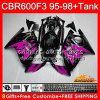 1996 honda cbr pink fairings toptan satış-HONDA 600cc CBR 600F3 CBR 600 FS F3 95 96 1997 1998 41HC.288 CBR600FS CBR600 F3 CBR600F3 için Kiti + Tank siyah 1995 1996 97 98 grenaj pembe